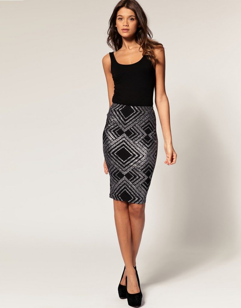 Pencil-skirt-in-glitter-print