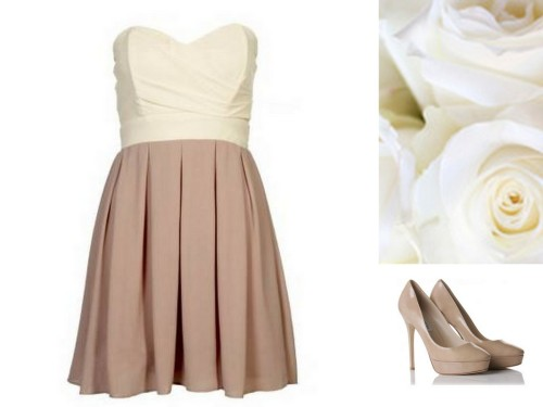 Style-Inspiration-Design Beige Color Blocked Dress with Neutral Heels