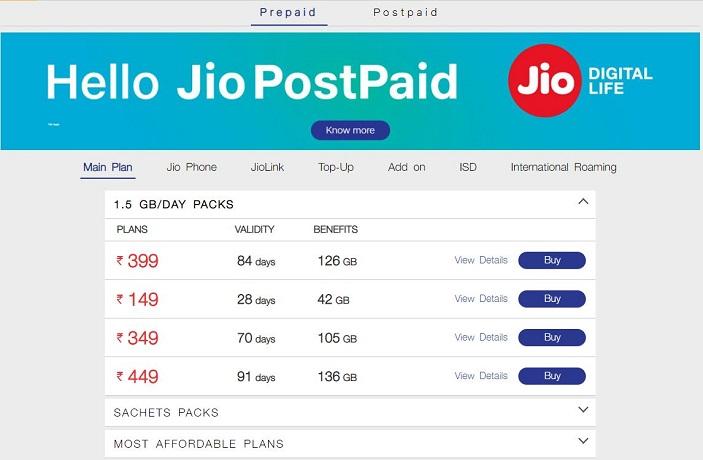 Reliance Jio 4G Plans - Prepaid Plans | CashFry Blog