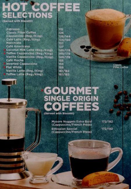 CCD Menu with Prices Sector 14 Gurgaon Hot Coffee