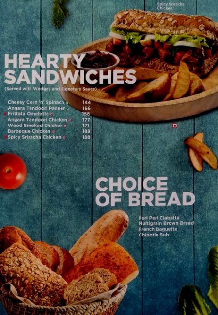 CCD Menu with Prices Sector 14 Gurgaon Sandwiches