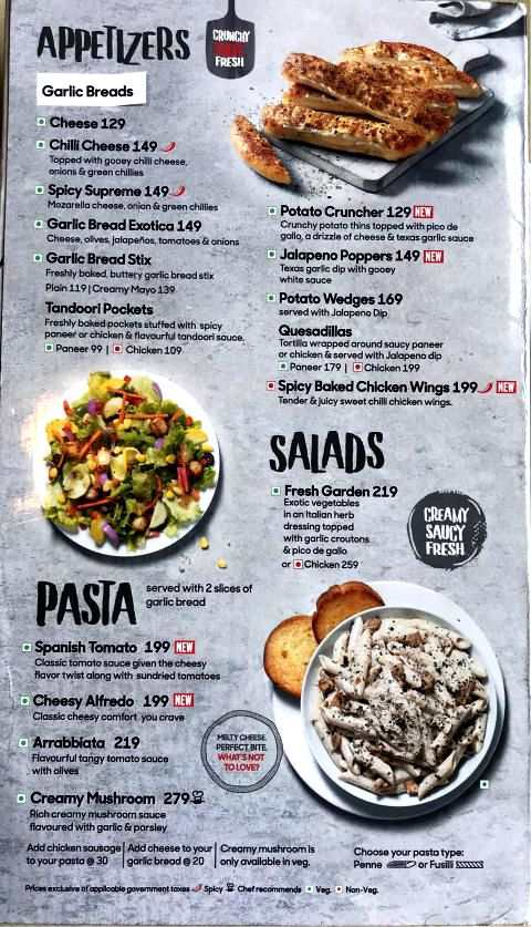Pizza Hut Menu Card with Prices New Appetizers Salads Pasta