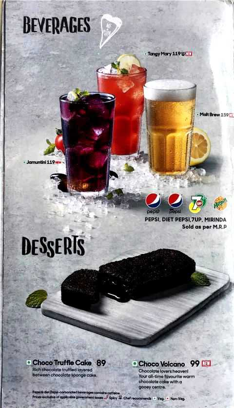 Pizza Hut Menu Card with Prices Pan Pizza Stuffed Crust Beverages Desserts