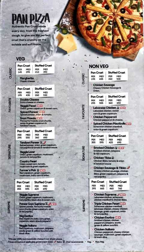 Pizza Hut Menu Card with Prices Pan Pizza