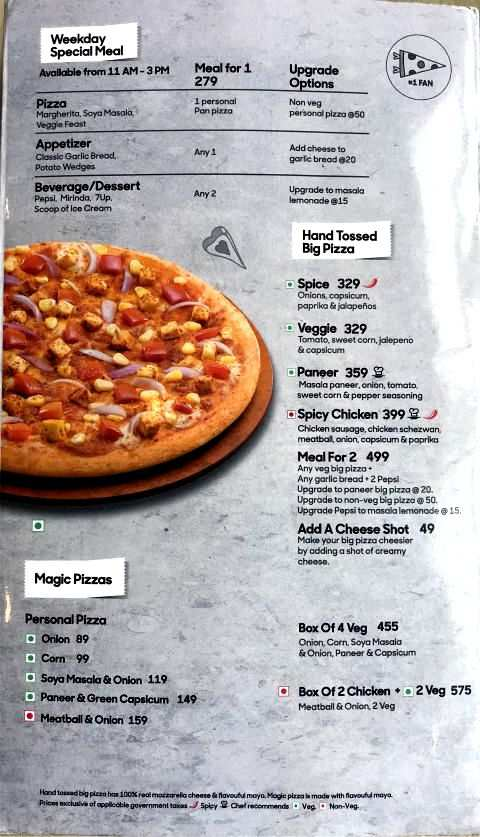 Pizza Hut Menu Card with Prices Pan Pizza Stuffed Crust Beverages Desserts Special Meal