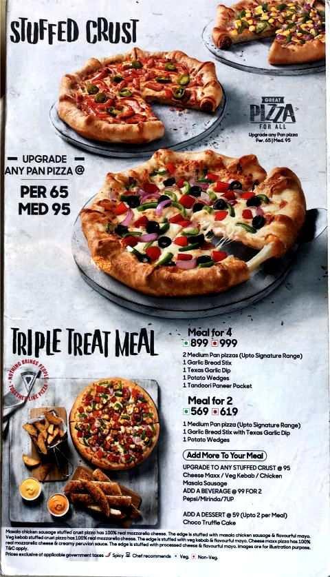 Pizza Hut Menu Card with Prices Pan Pizza Stuffed Crust