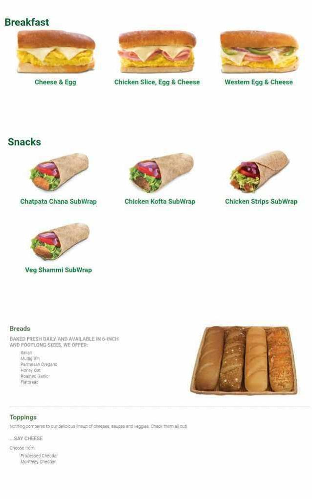Subway Menu with Prices India Breakfast Snacks Breads Toppings