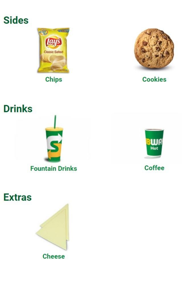 Subway Menu with Prices India Sides Drinks Extra