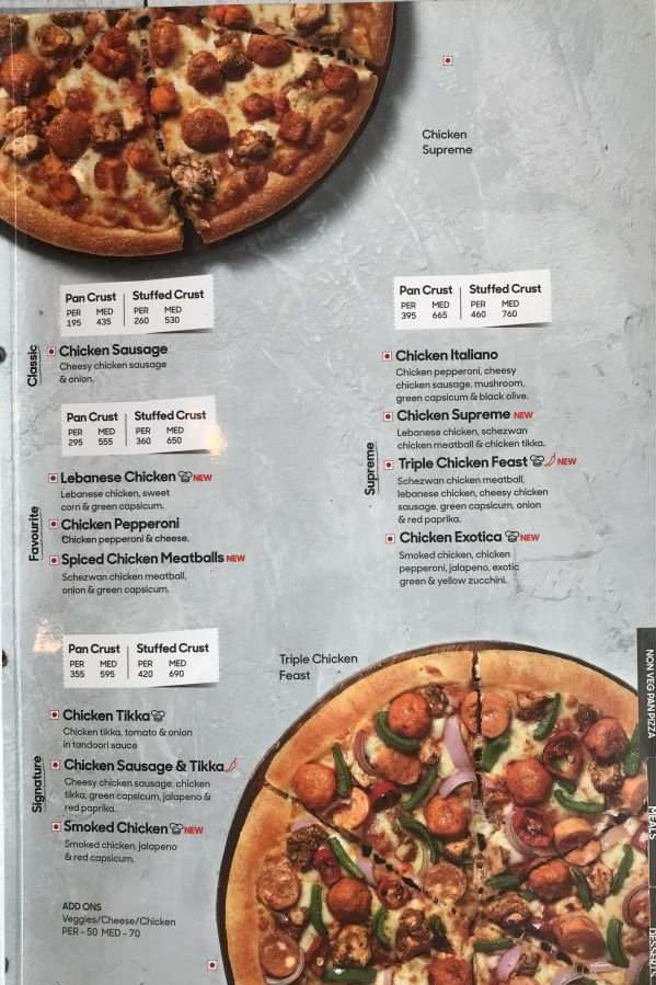 Pizza Hut Menu Pizza Hut India Menu Card Prices