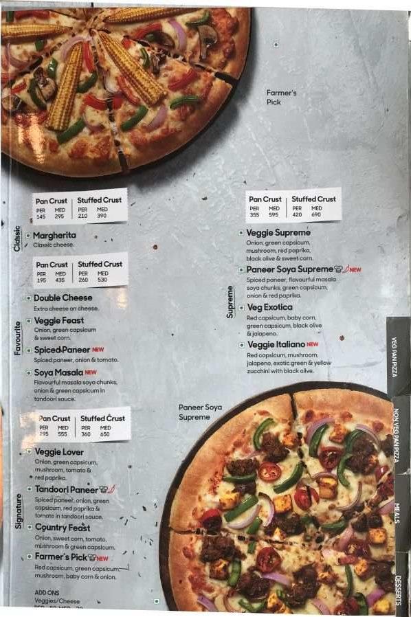 Pizza Hut Menu Pizza Hut India Menu Card Prices