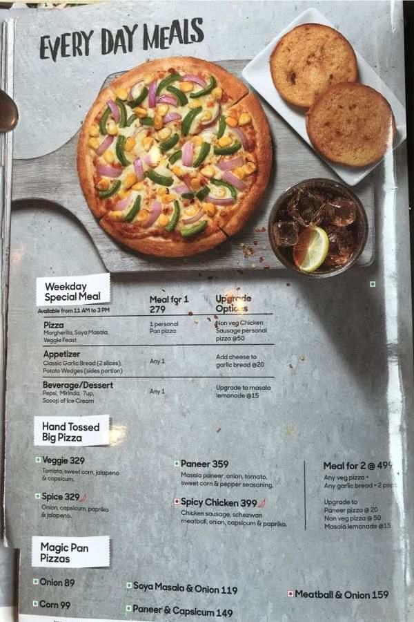 Pizza Hut Menu Pizza Hut India Menu Card Prices Every Day Meals