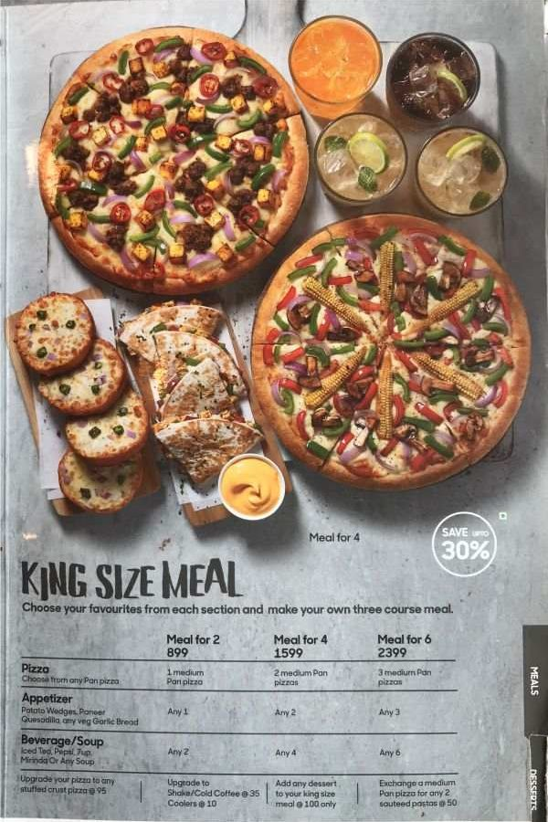 Pizza Hut Menu Pizza Hut India Menu Card Prices Every Day King Size Meals