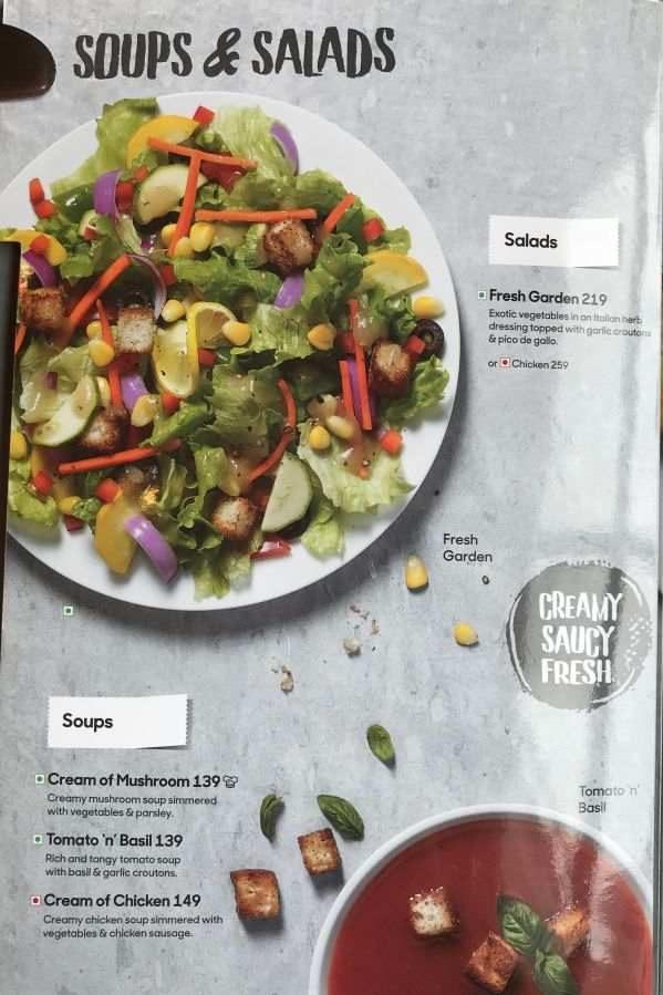 Pizza Hut Menu Pizza Hut India Menu Card Prices Soups Salads