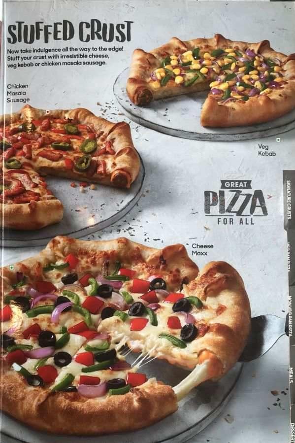 Pizza Hut Menu Pizza Hut India Menu Card Prices Stuffed Crust