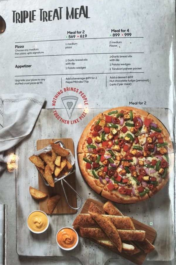 Pizza Hut Menu Pizza Hut India Menu Card Prices Triple Treat Meals