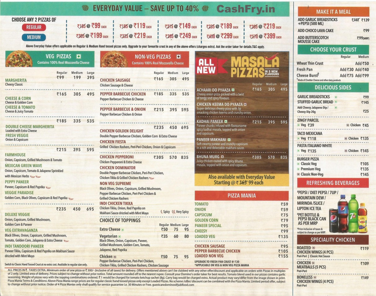 Dominos Pizza Menu Card with Prices in India